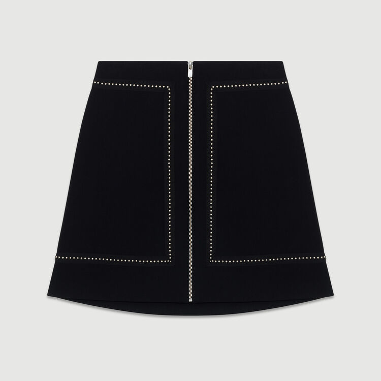 Short crepe skirt with studs : The Spring Essentials color Black 210