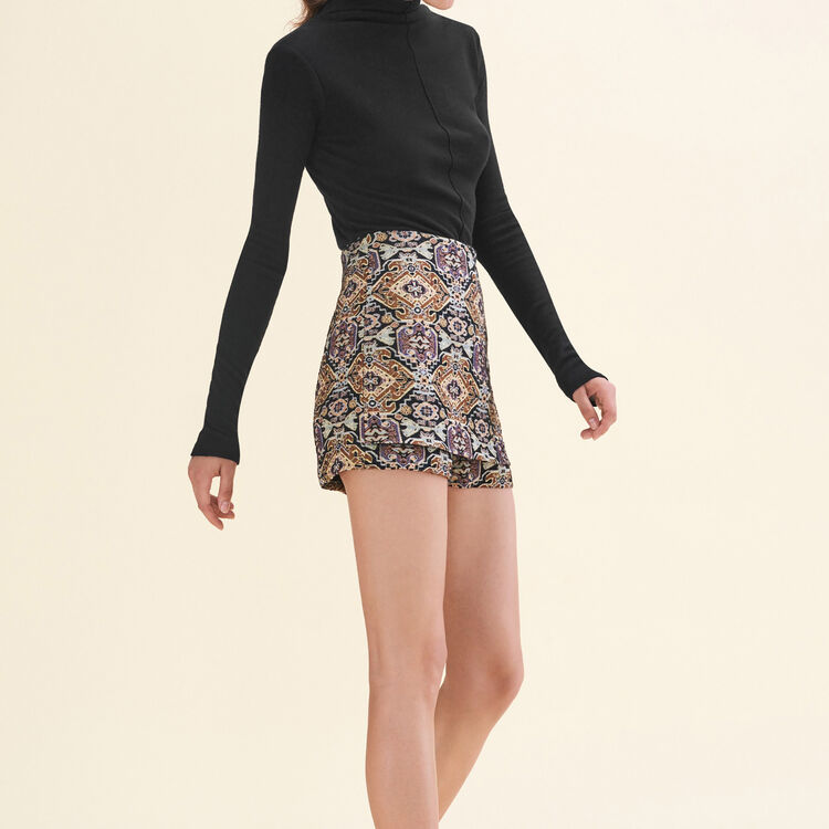 Cropped jacquard shorts : null color