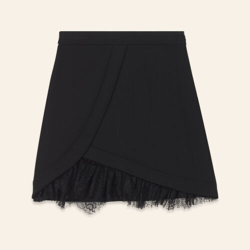 Asymmetrical skirt with lace details : Skirts & Shorts color Black 210