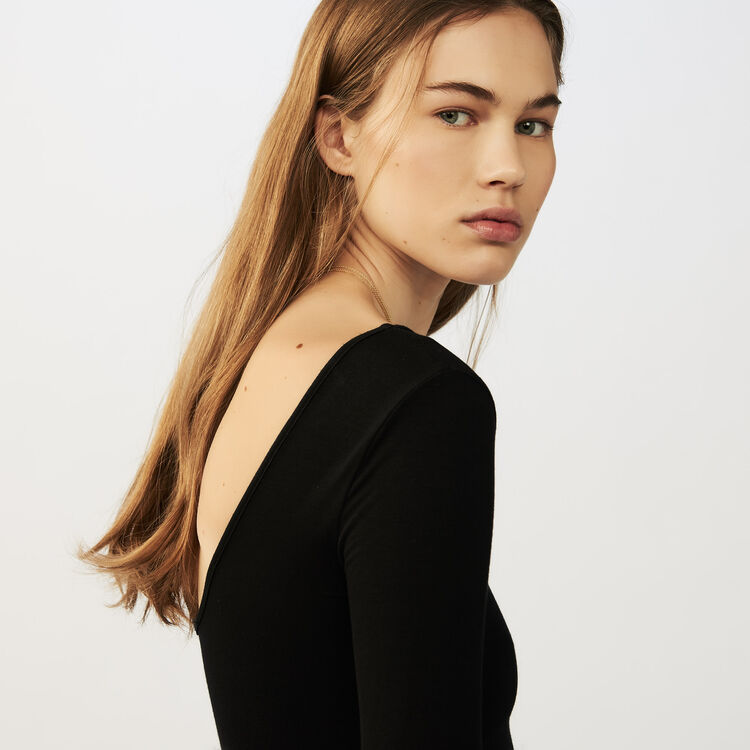 Long-sleeved bodysuit in jersey : Sweaters color Black 210