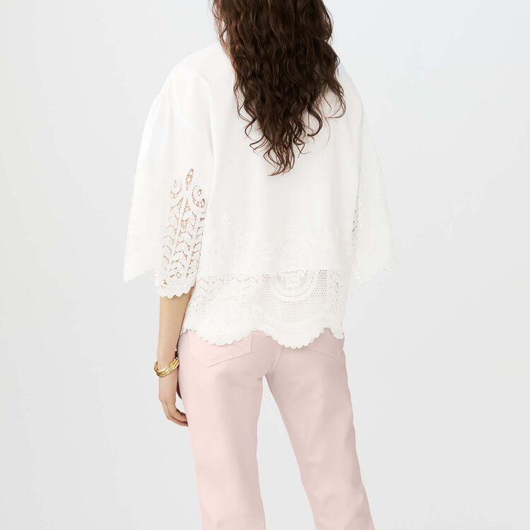 Cotton top with lace detailing : Tops & T-Shirts color ECRU