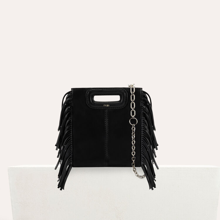 M Mini-bag with leather fringes : The Essentials color Black 210