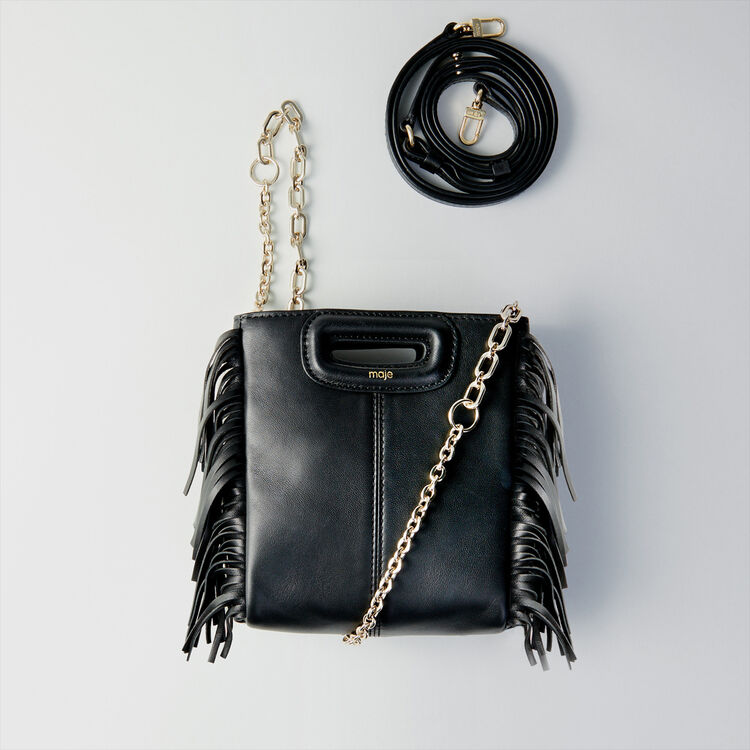 Fringed leather M mini bag with chain : The Essentials color Black