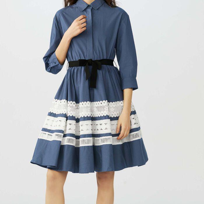 b98e39daf0c bicolored-embroidered-shirt-dress by maje