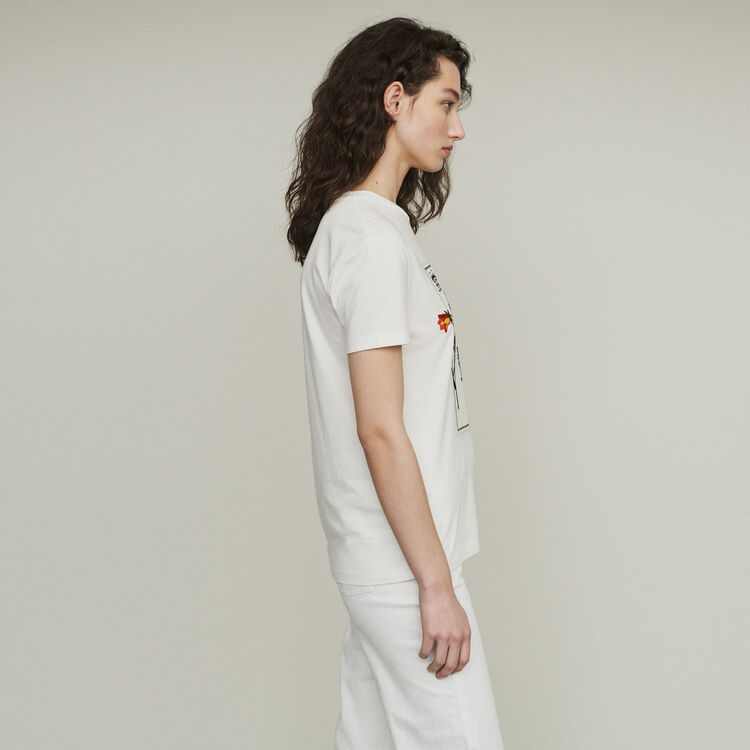 Printed embroidered T-shirt : Tops & T-Shirts color WHITE