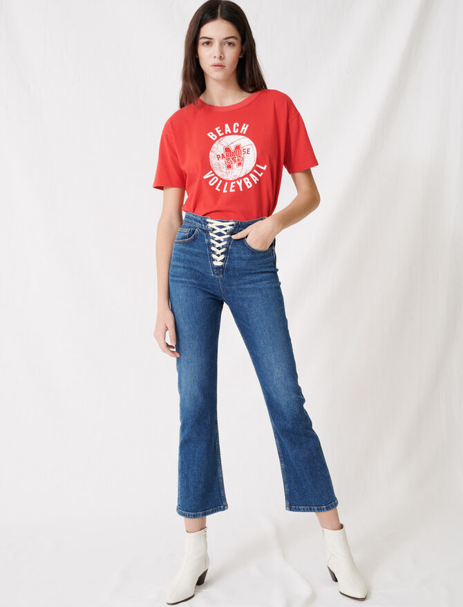Denim blue jeans with lace fastening - Pants & Jeans - MAJE