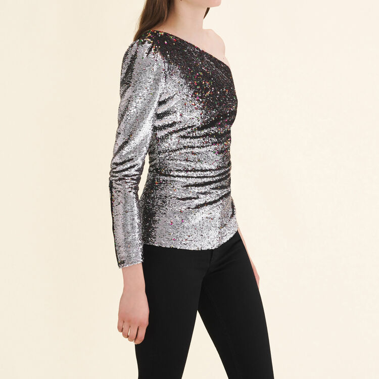 Asymmetrical sequinned top : Tops & Shirts color Silver
