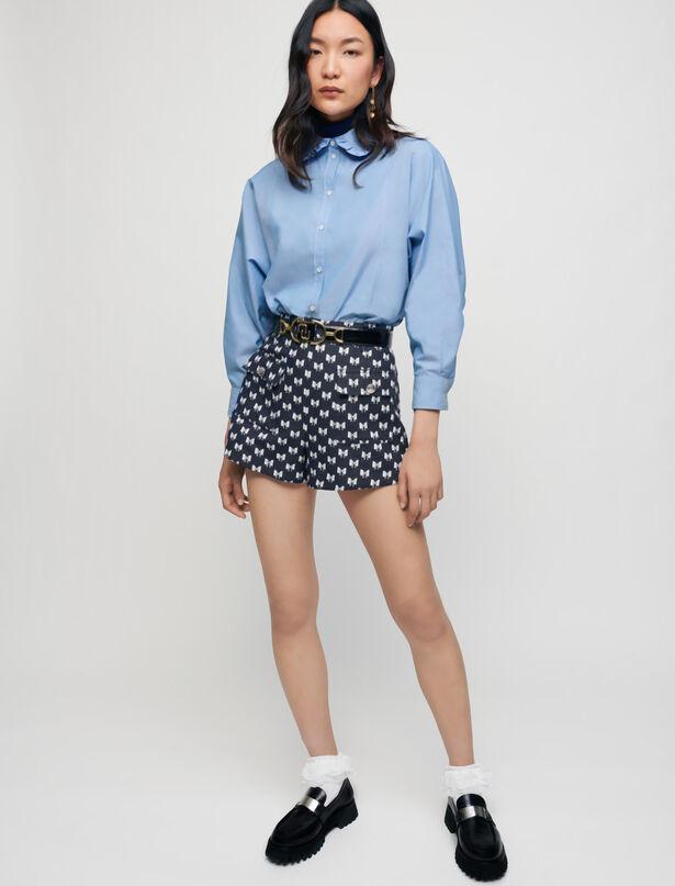 마쥬 자카드 반바지 MAJE Jacquard shorts with bow pattern,Navy Knots