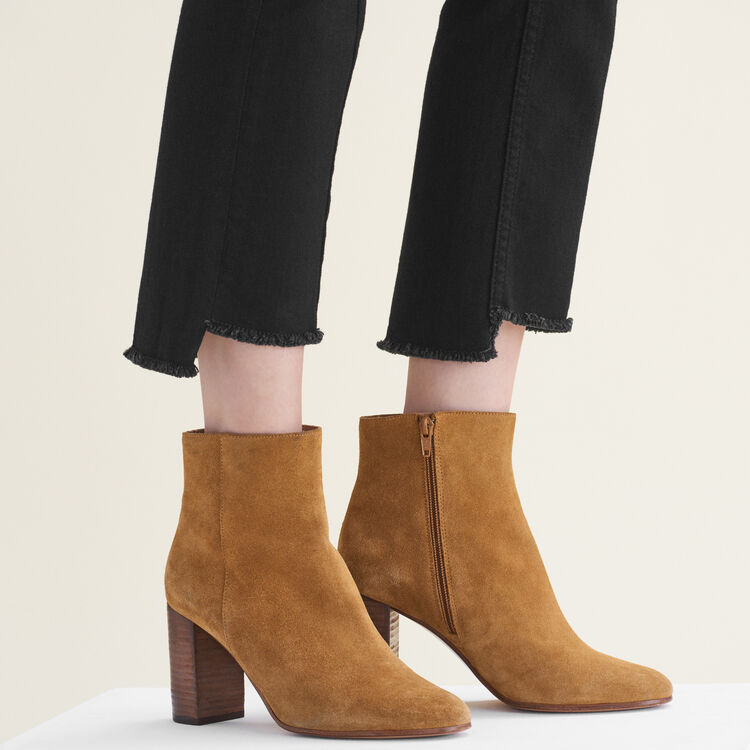 Suede leather ankle boots : Shoes color Camel