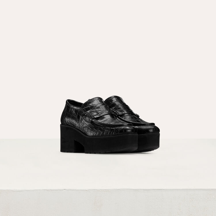 Croc-embossed leather loafers : Shoes color Black 210