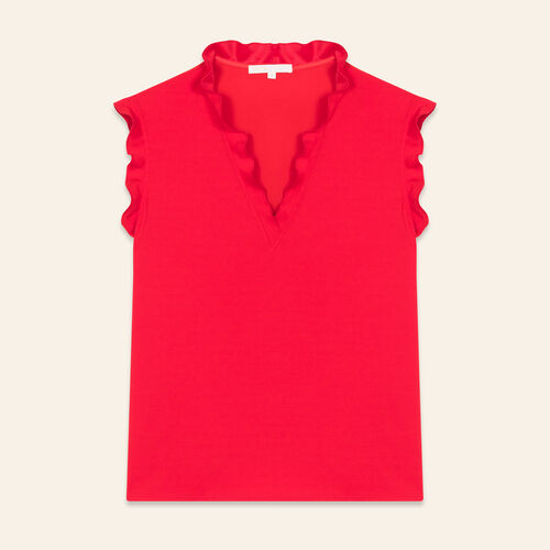 Frilled sleeveless top : Tops & T-Shirts color ROUGE
