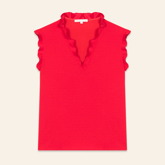 Frilled sleeveless top : 30% Off color ROUGE