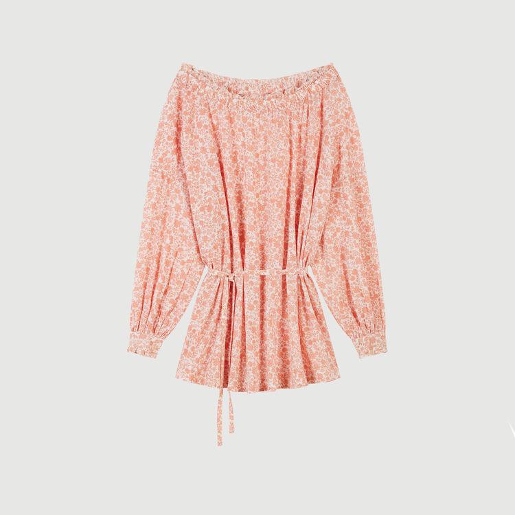 Short floral-print cotton voile dress : Dresses color Coral