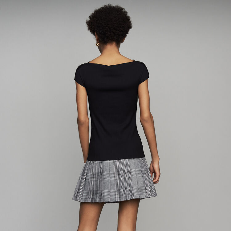 Pleated top with lace : Tops & T-Shirts color Black 210