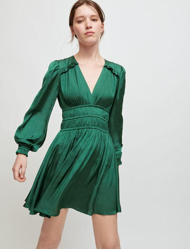 Maje Satin dress with ruffles