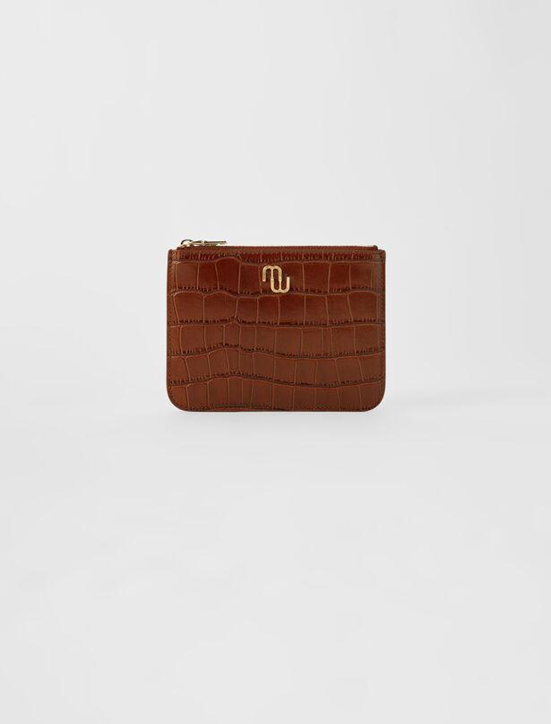 마쥬 MAJE Zip-up embossed leather pouch