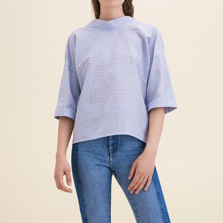 Loose striped cotton top : Tops & T-Shirts color Blue