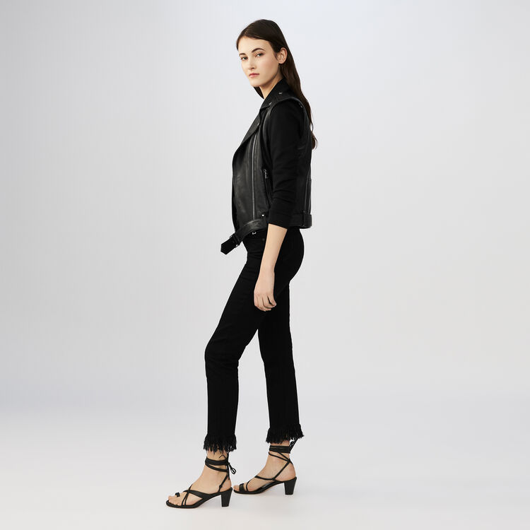 7/8 jeans with frayed hem : Pants & Jeans color Black 210