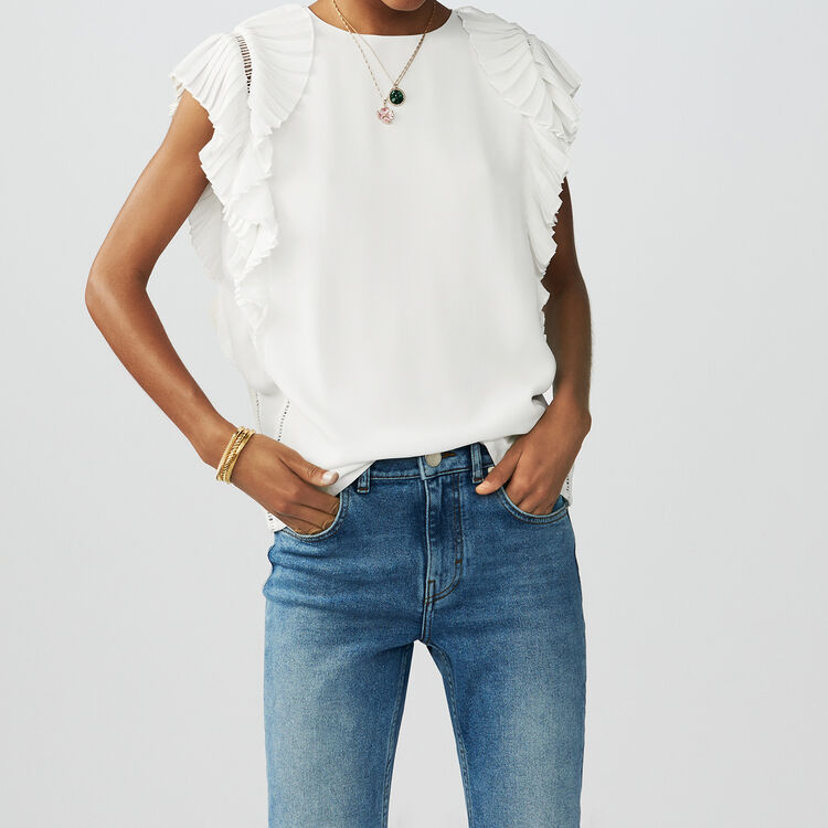 Top with pleated sleeves : Tops & T-Shirts color ECRU
