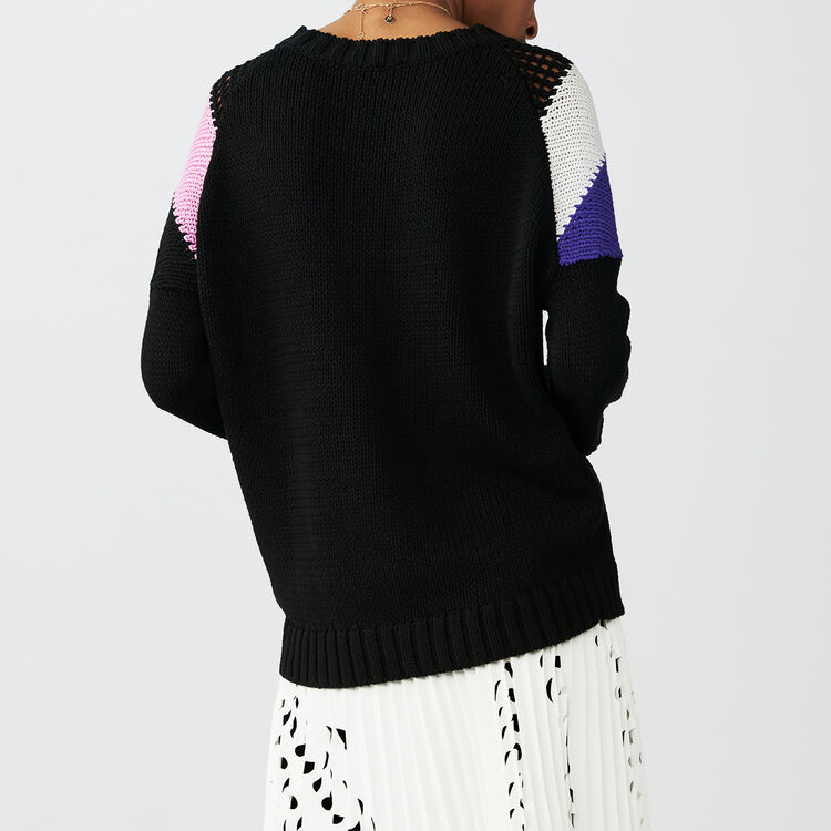 Oversized sweater with details : Sweaters color Black 210