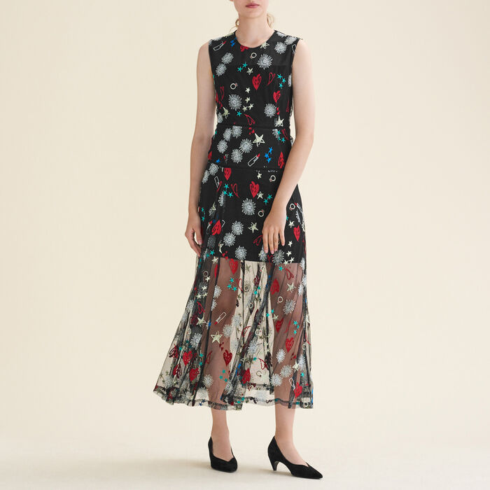 Long dress with all-over embroidery : null color