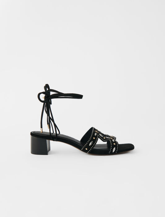 Low-heeled tie sandals with studs : Sandals color Black