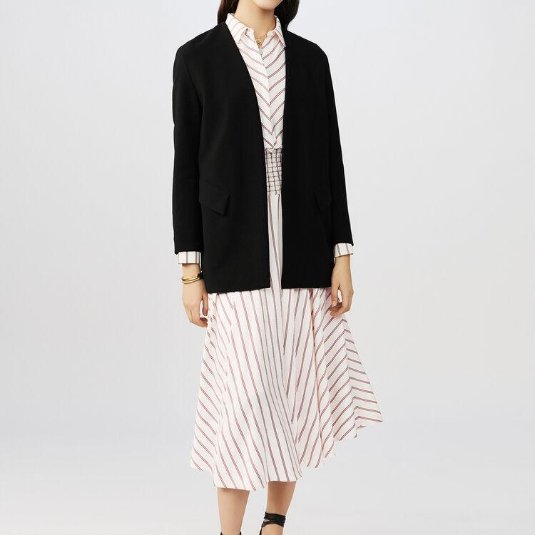 Collarless cotton blend dress jacket : Coats & Jackets color Black 210