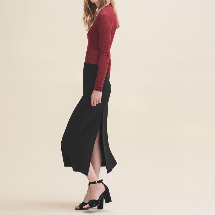 Long crepe skirt : Skirts & Shorts color Black 210