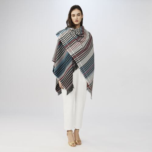Multicolored houndstooth poncho : Scarves color Multico