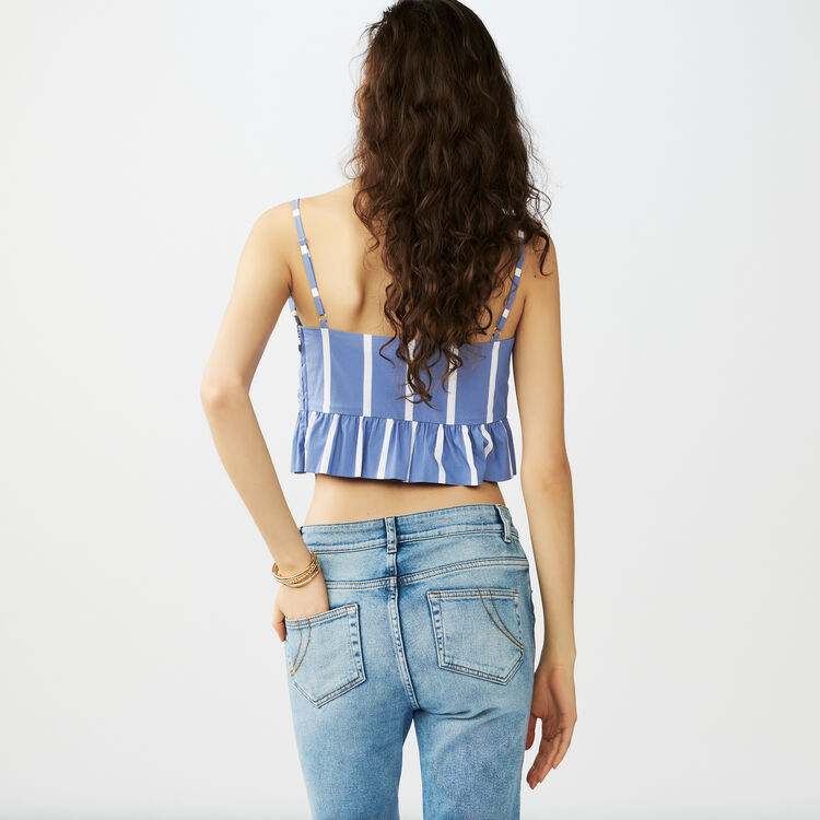 Thin strap cropped stripe top : Tops & T-Shirts color Blue
