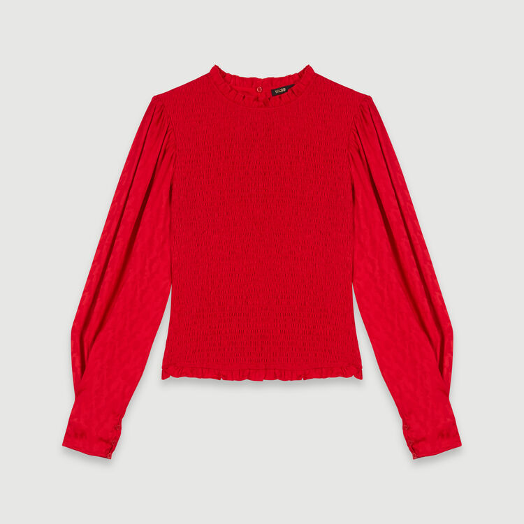Satin jacquard smock top : Tops & T-Shirts color Red
