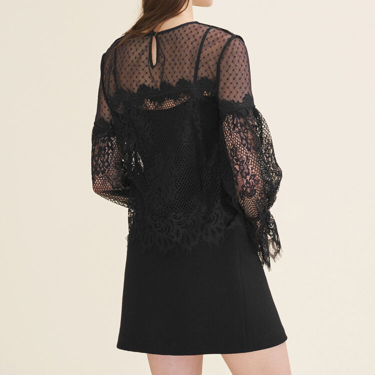 Lace and dotted Swiss top : null color