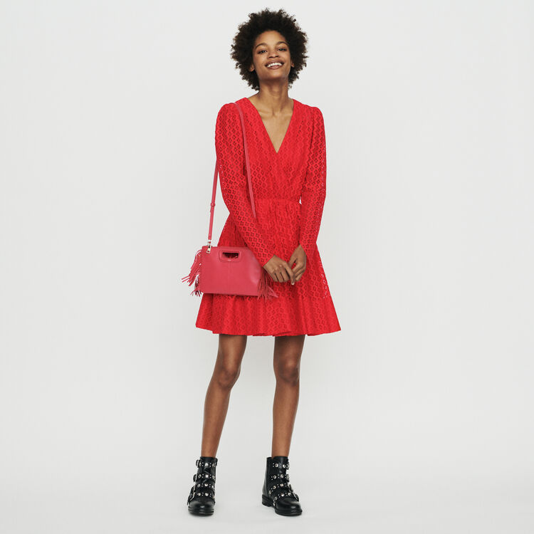 Guipure dress : Dresses color Red