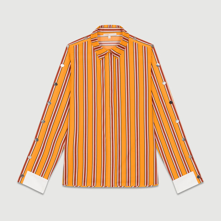 Striped cotton shirt with snaps : Tops & T-Shirts color Orange