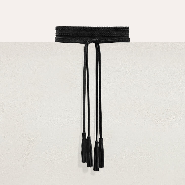 Leather tie belt with tassels : Belts color Black