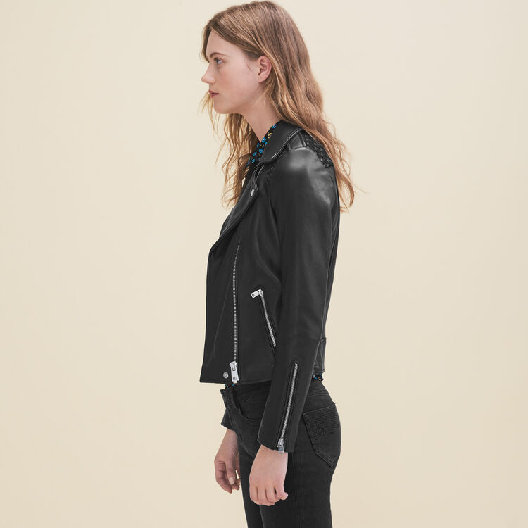 Leather jacket with woven detailing : Coats & Jackets color Black 210