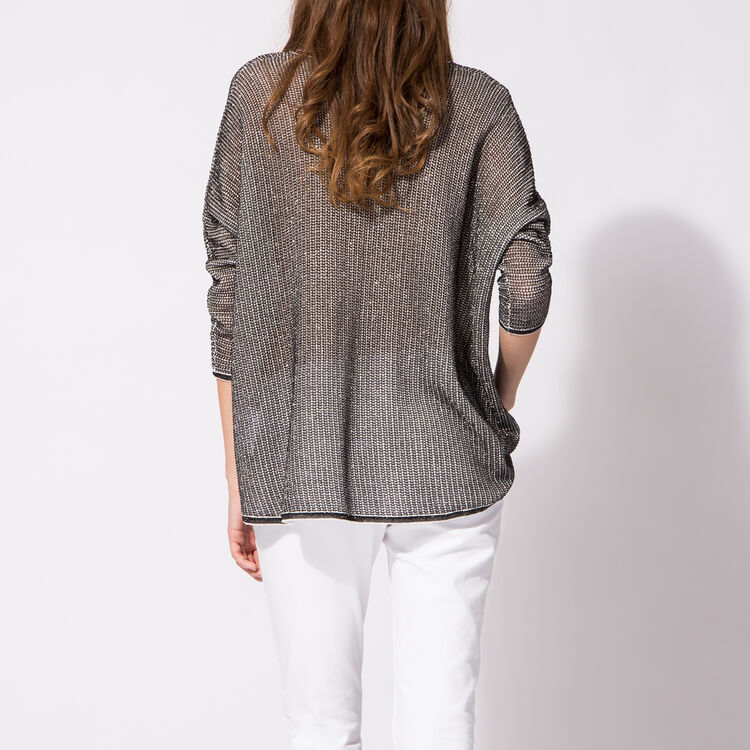 Oversize printed cotton sweater : Silver color