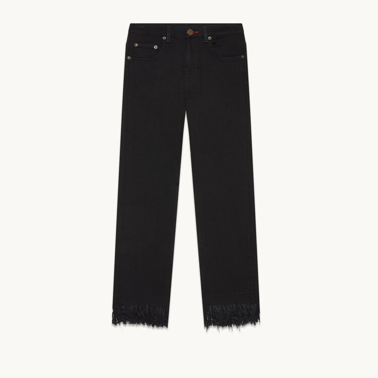 Tasselled short jeans : Pants & Jeans color Black 210