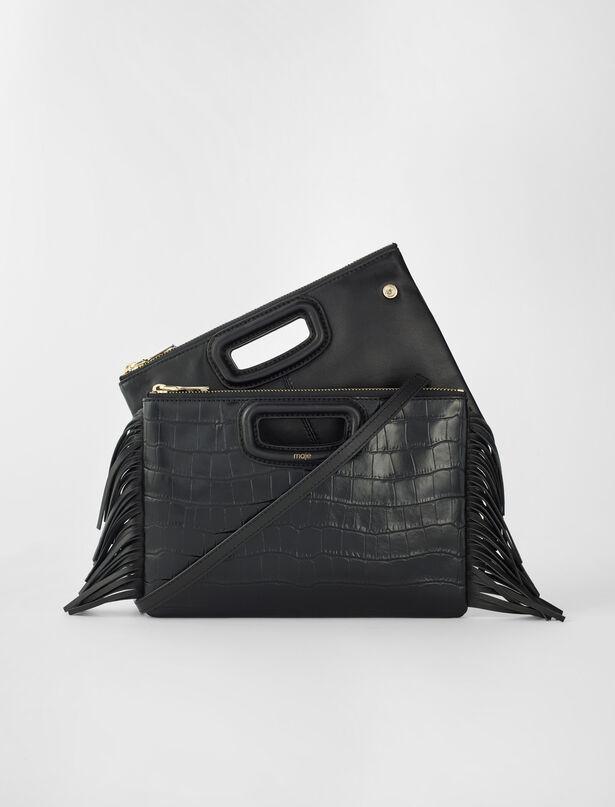 마쥬 M 듀오 클러치 MAJE Crocodile embossed-leather M Duo clutch,Black
