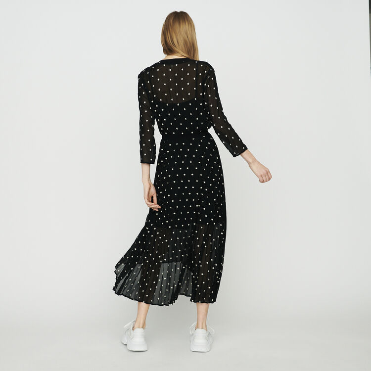 Long pleated dress with embroideries : Dresses color Black