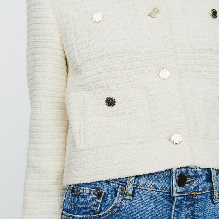 Cropped tweet jacket : Coats & Jackets color Ecru