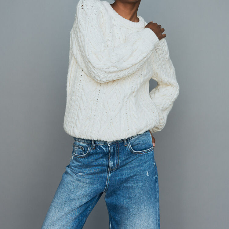 Braided knit sweater : Sweaters color ECRU