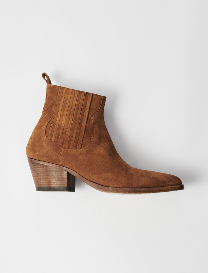 Suede Cowboy Boots - Boots - MAJE