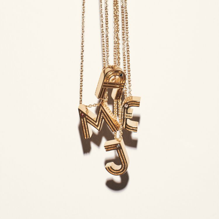 Necklace with initial pendant : All accessories color GOLD