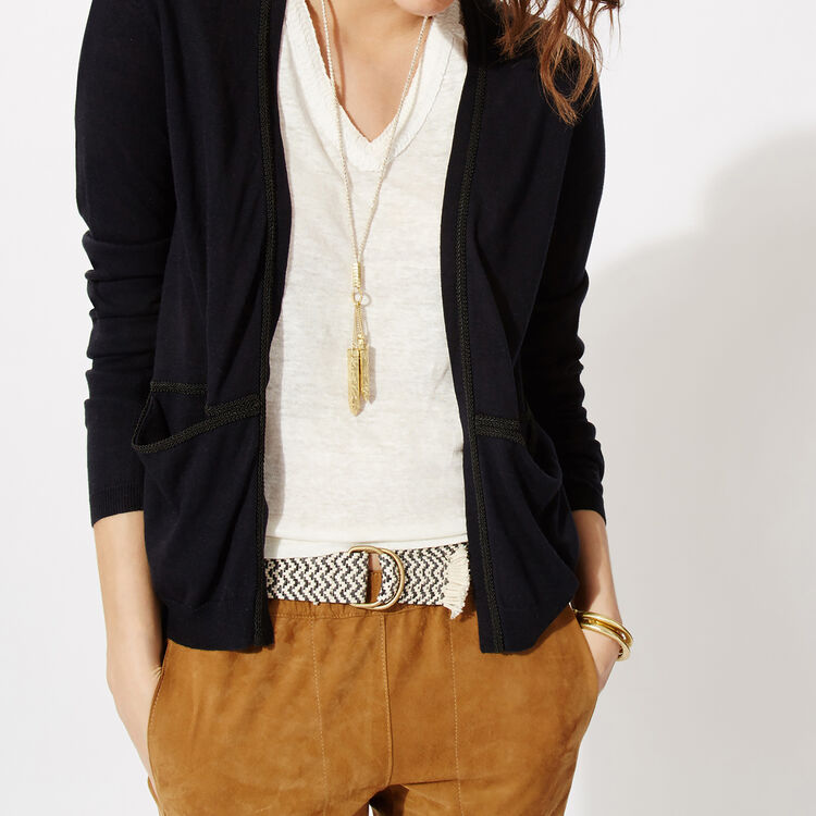 Silk and wool cardigan with braid trim : Copy of Sale color