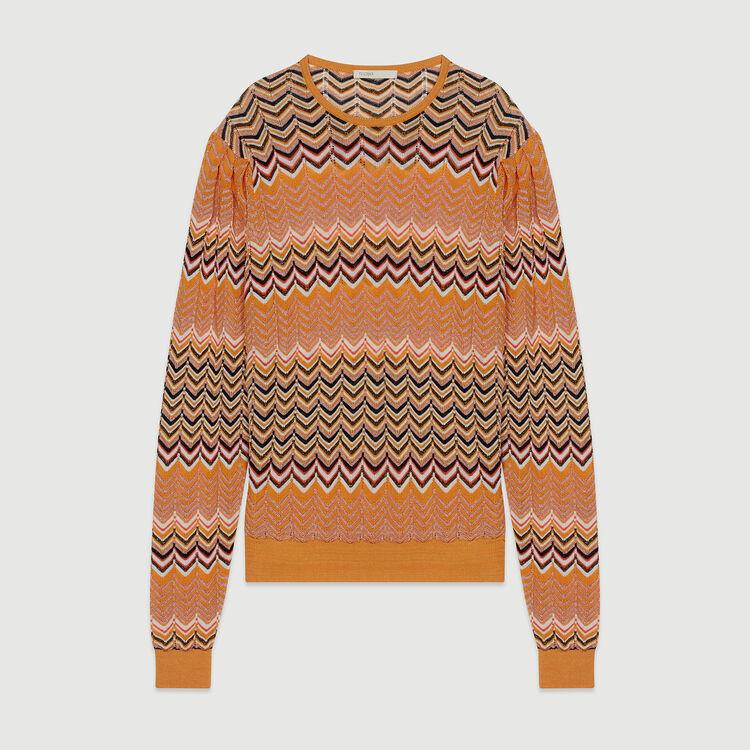 Sweater in zigzag knit : Sweaters color Orange