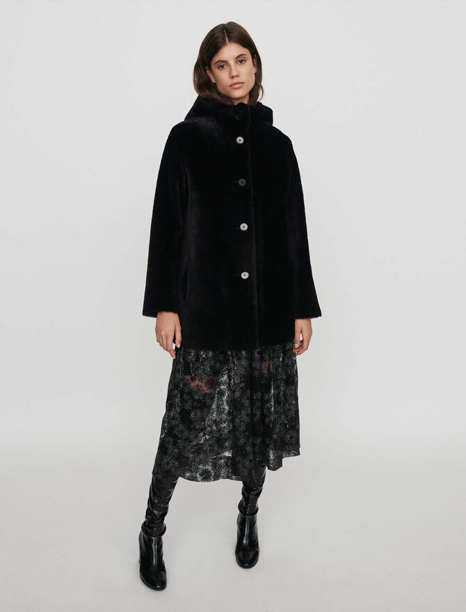 Reversible hooded lambswool - Coats & Jackets - MAJE