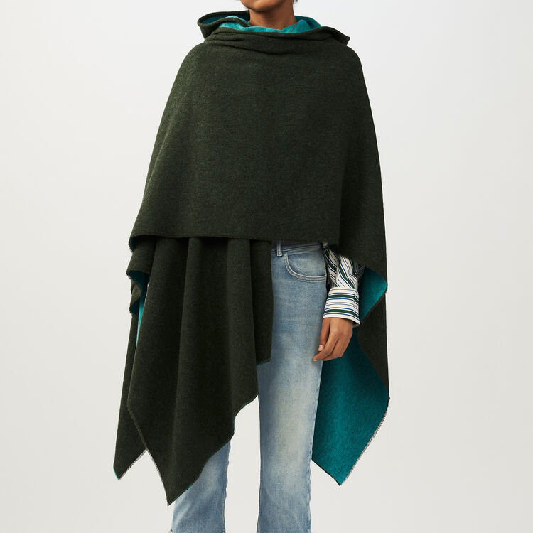Reversible hooded poncho : Scarves color Khaki