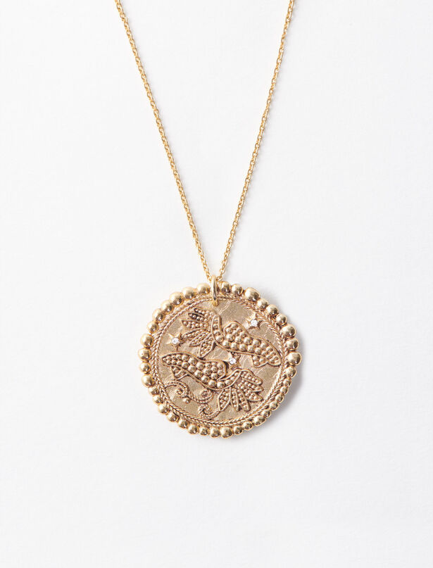마쥬 MAJE Pisces zodiac sign necklace,Old Brass