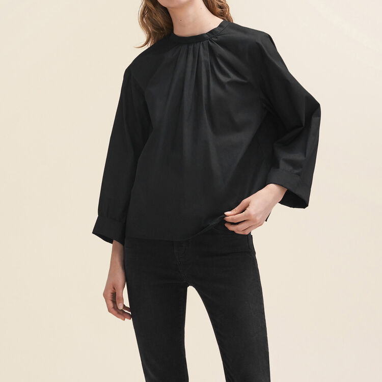 Wide-cut blouse with open back : Tops & Shirts color Black 210